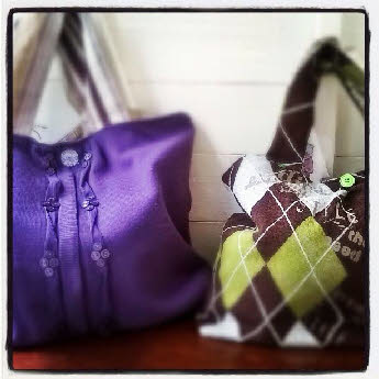 Upcycled knitwear into bags